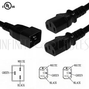 PW-224-03 3ft IEC C20 to 2x IEC C13 Power Splitter Cable - 14/18AWG SJT - Infinite Cables