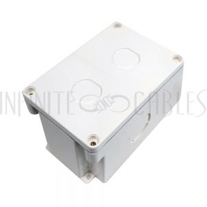 SB-EBH2-WH Single Gang Surface Mount Box with 2x Ethernet Bulkhead Knockouts - Waterproof IP68 Rated - White - Infinite Cables