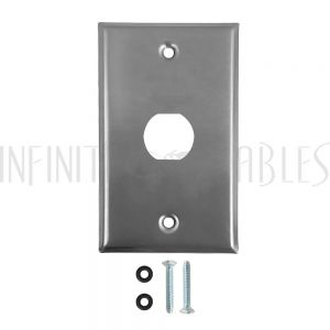 WP-EBH1-SS Single Gang Wall Plate - 1x Ethernet Bulkhead Hole - IP44 Rated - Stainless Steel - Infinite Cables