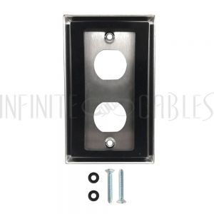 WP-EBH2-SS Single Gang Wall Plate - 2x Ethernet Bulkhead Hole - IP44 Rated - Stainless Steel - Infinite Cables