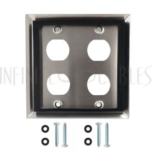 WP-EBH4-SS Double Gang Wall Plate - 4x Ethernet Bulkhead Hole - IP44 Rated - Stainless Steel - Infinite Cables