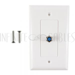 WPK-TVF1-WH-3G Single Gang Decora Style 3Ghz Coax Wall Plate - White - Infinite Cables