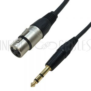 XLR Female to 1/4 Inch TRS Male Cables - Premium