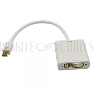 AD-MDP-DVI-A 6 inch Mini-DisplayPort/Thunderbolt<sup>TM</sup> v1.2 Male to DVI Female Adapter, Active - White - Infinite Cables