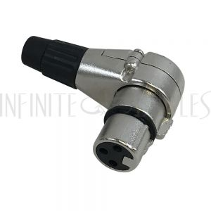 CN-XLRFRA XLR 90 Degree Female Connector Nickel, Gold Plated Pins - Infinite Cables