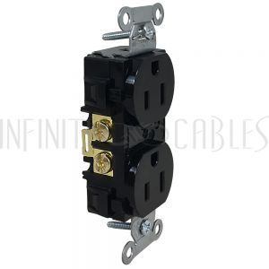 PW-PR1-BK Hubbell Power Receptacle Duplex (15A 125V) - BR15BLK Black