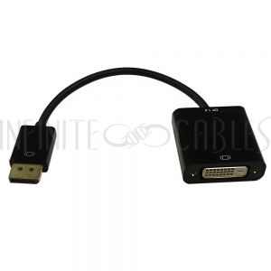 AD-DP-DVI-A  6 inch DisplayPort male v1.2 to DVI Female Adapter, Active - Black - Infinite Cables