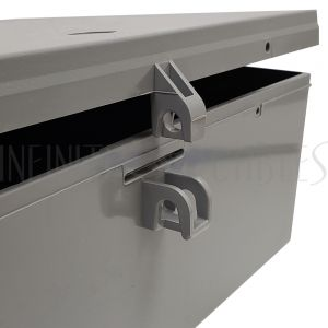 "EB-1212-GY Enclosure Box 12"" x 12"" x 4"", Indoor/Outdoor Non-Metallic, NEMA 3R Rated - Grey - Infinite Cables"