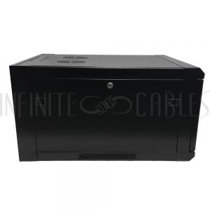 "RM-500-6U Wall Mount Cabinet 6U x 19.5"" Usable Depth, Glass Door, Fans - Black - Infinite Cables"
