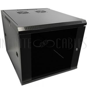 "RM-510-9U Wall Mount Cabinet 9U x 23"" Usable Depth, Glass Door, Fans - Black - Infinite Cables"