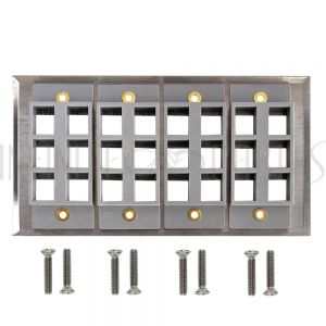 WP-24P-SS Four Gang, 24-Port Keystone Stainless Steel Wall Plate - Infinite Cables