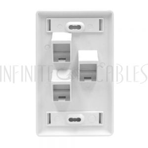 WP-3PA-WH Wall plate, 3-Port Angled Keystone - White - Infinite Cables