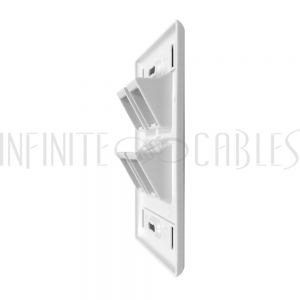 WP-4PA-WH Wall plate, 4-Port Angled Keystone - White - Infinite Cables