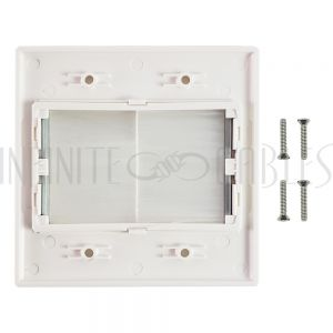 WP-DPB2-WH Cable Pass-through Wall Plate, Brush Style, Double Gang Decora - White - Infinite Cables