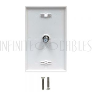WPK-TVF1-WH-E Single Gang Coax Wall Plate - White - Infinite Cables