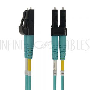 FO-458A-01.5P 1.5ft - 0.5m Multimode Duplex LC/LC Short Boots OM4 Aqua Fiber Cable - 1.6mm Jacket OFNP - Infinite Cables