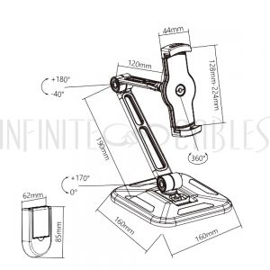 """MT-2005-BK Phone and Tablet Stand/Wall Mount for most 4.7"""" to 12.9"""" Devices - Infinite Cables"""