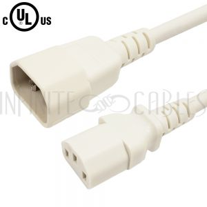 C13 to C14 Power Cords - White - Infinite Cables
