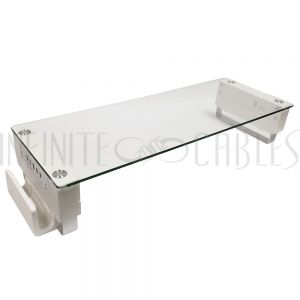 MT-2601-WH Monitor Stand with 1.5A/2.4A USB Charging Ports - White/Glass - Infinite Cables