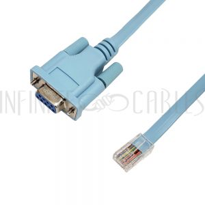 SR-500-06 6ft DB9 Female to RJ45 Male Cisco Console Cable - Light Blue - Infinite Cables