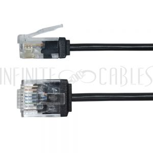 CAT6UTM-6INBK 6 inch Cat6 UTP Micro-Thin Molded Patch Cable - 32AWG - Riser CMR - Black - Infinite Cables