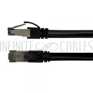 CAT8S-01BK 1ft Cat8 S/FTP Shielded Patch Cable - 40G - 24AWG - Riser CMR - Black - Infinite Cables