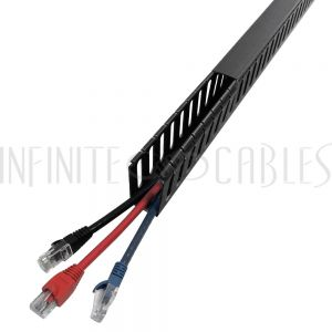 WD-1020-BK 6ft Plastic Wiring Duct with Cover 1x2 - Black - Infinite Cables