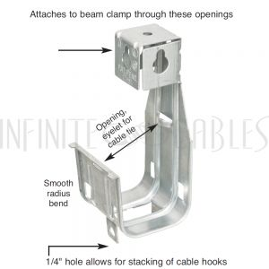 CC-JH2M-R J-Hook - 2 inch Steel (Used with Threaded Rod and Beam Clamp) - Infinite Cables