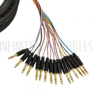 S16-TRSMF-03 Premium Phantom Cables 1/4 Inch TRS Male to 1/4 Inch TRS Female Balanced Analog 16-Channel Snake Cable - Infinite Cables