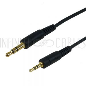 AUD-320-01 3.5mm Stereo Male to 2.5mm Stereo Male Cable - Riser Rated CMR/FT4 - Black - Infinite Cables