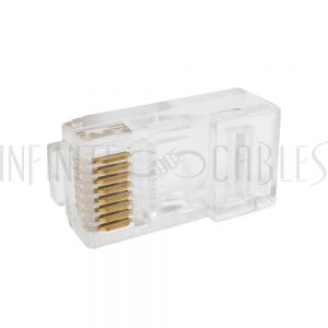 CN-RJ45T-10 RJ45 Cat5e Plug with Snagless Tab for Stranded Round Cable (8P 8C) - Pack of 10 - Infinite Cables