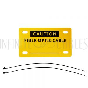 CT-FO100-YL Fiber Optic Caution Tag - Yellow - 45mm x 80mm - With Cable Ties (10 pack) - Infinite Cables