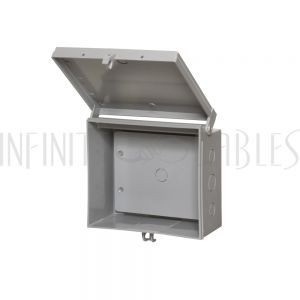 """EB-0708BP-GY Enclosure Box 7"""" x 8"""" x 3.5"""", Indoor/Outdoor Non-Metallic, NEMA 3R Rated with Backplate - Grey - Infinite Cables"""
