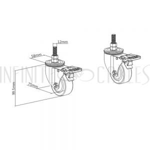 MT-1610-C Video Wall Floor Stand - Pair of Lockable Casters - Infinite Cables