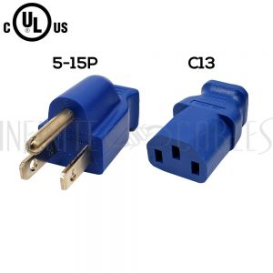 PWC-105C-01BL 1ft NEMA 5-15P to IEC C13Power Cable 14AWG SJT (15A 125V) Blue - Infinite Cables