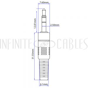 AUD-120-01 1ft 2.5mm Stereo Male to Male Cable - Riser Rated CMR/FT4 - Black - Infinite Cables