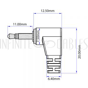 AUD-180-01 2.5mm Stereo Male Right Angle to Male Right Angle Cable - Riser Rated CMR/FT4 - Black - Infinite Cables