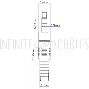 AUD-220-00.5 6 inch 3.5mm Stereo Male to Male Cable - Riser Rated CMR/FT4 - Black - Infinite Cables