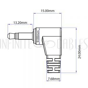 AUD-270-01 3.5mm 4C Male Straight to Male Right Angle Cable - Riser Rated CMR/FT4 - Infinite Cables