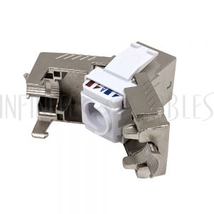 JK-C8-SS RJ45 Cat8 Slim Profile Jack, 110 Punch/Tool-Less, Shielded - Stainless Steel - Infinite Cables