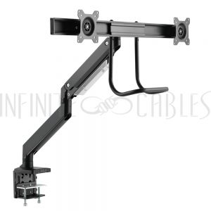 MT-564-BK Dual Screen Desktop Display Mount - Full Motion – Fits Monitors 17 to 32 inch - Infinite Cables