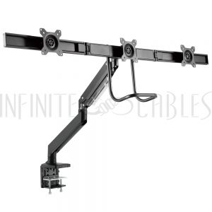 MT-565-BK Triple Screen Desktop Display Mount - Full Motion – Fits Monitors 17 to 27 inch - Infinite Cables