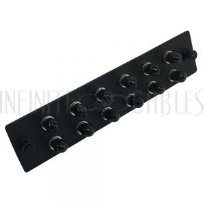 PP-FA200-12BK Loaded Adapter Panel with 12x Simplex ST/UPC SM/MM - Black - Infinite Cables