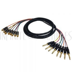 8-Channel RCA to 1/4 Inch TS Snake Cables