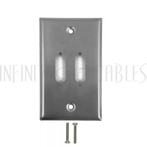 WP-DVI2-SS Wall plate, 2-port DVI, Stainless Steel - Infinite Cables