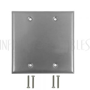 WP-SS2 Double Gang Stainless Steel Wall Plate - Solid - Infinite Cables