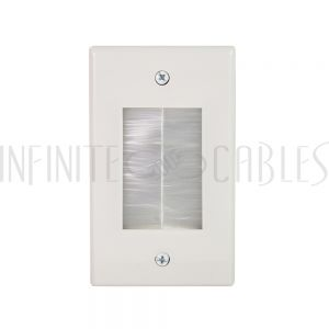 WP-PT1BP-WH Cable Pass-Through Wall Plate - Brush Style with Wall Clip - Single Gang - White - Infinite Cables
