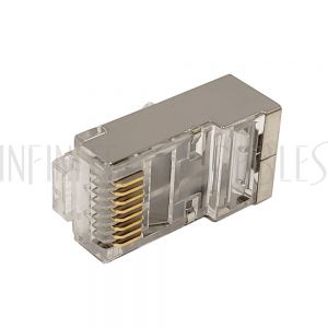 CN-RJ45C6A3-50 RJ45 Cat6a Shielded 3-pcs Plug (Solid or Stranded) (8P 8C) - 50 pack - Infinite Cables