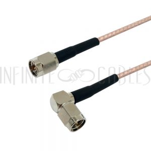 RF316-1014-00.5 RG316 SMA Male to SMA Male Right Angle Cable - Infinite Cables