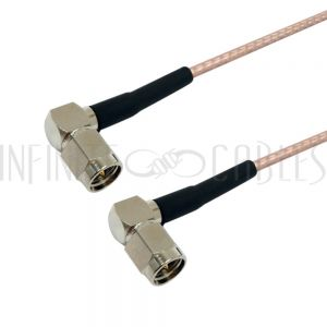 RF316-1414-00.5 RG316 SMA Male Right Angle to SMA Male Right Angle Cable - Infinite Cables